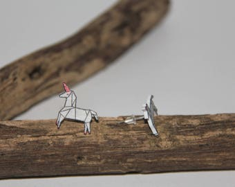 Unicorn origami earrings