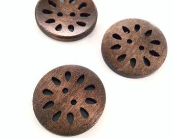 X 1 button round wood 30mm♥ ♥