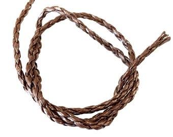 ❤ X 1 meter FAUX leather BRAID 3mm dark brown ❤