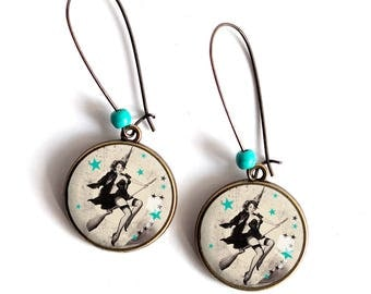 Earrings cabochon 20 mm, witch on her broomstick, stars, pinup, year 60's