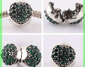 Pearl N959 clip stopper European blocker rhinestones for charms bracelet