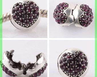 Pearl N956 clip stopper European blocker rhinestones for charms bracelet