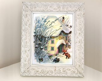 Winter Gnome Illustration from Vintage Book. Print for Framing. Girl's Snowy Baby Shower Gift. Woodland Bedroom, Nursery, Playroom Decor