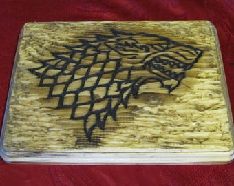 House Stark The North Remembers Game of Thrones Handmade Wood Carving