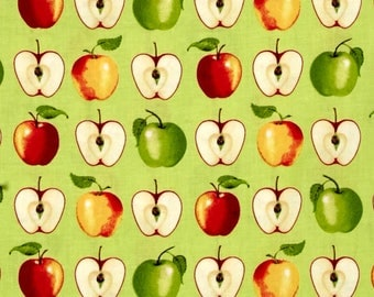 A Day on the Farm Apples Green Cotton Fabric Fat Quarter