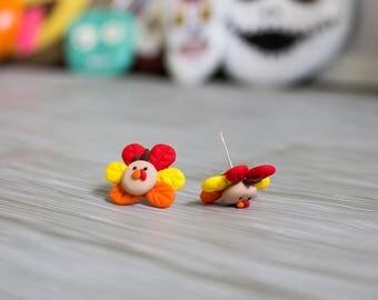 Polymer Clay Thanksgiving Turkey Earrings