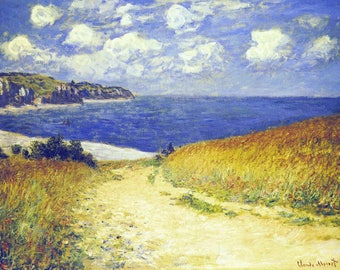 ORIGINAL design, durable and WASHABLE PLACEMAT - Claude Monet - path in the corn at Pourville - classic.