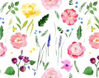 ORIGINAL design, durable and WASHABLE PLACEMAT - watercolor flowers 2 - classic.