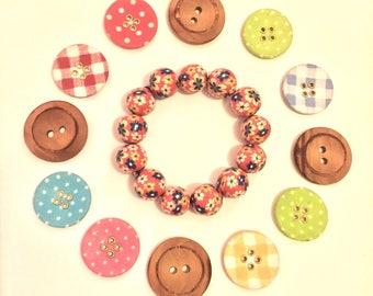 Vintage Floral Print beads 12mm beads Bracelet, fits all