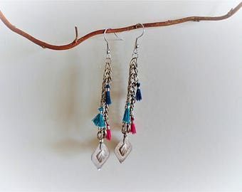 Ethnic earrings silver and 3 small tassels
