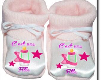 "Custom baby booties ""it's a girl"""
