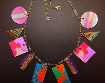 stained glass with shrink plastic necklace