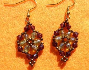 glass beads and seed beads earrings