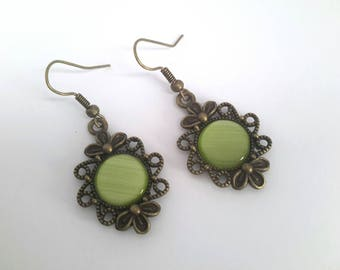 Bronze Green lime ❤ hand made glass bead hook earrings