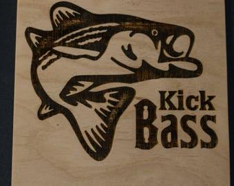 Kick Bass Laser Engraved Birch Wood Plaque 5 1/2 x 5 1/2