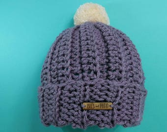 Adults | LAVENDER | Unisex Crocheted Beanie Hat | With Cream Pom Pom