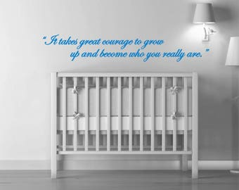 Kids Wall Quote Decal, Courage to Grow