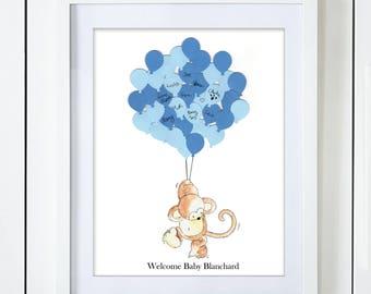 Blue Monkey Baby Shower Guest Book Alternative