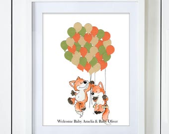 Silly Fox on a Swing Twins Baby Shower Guest Book Alternative Gender Neutral Boy Girl