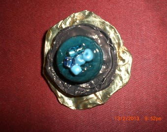 """Brooch """"Brown and turquoise"""""""