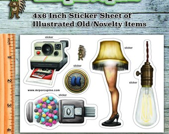 Novelty Sticker Sheet - Camera, Gum, Light, Leg Lamp