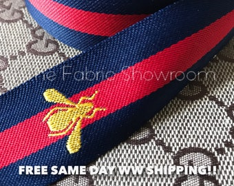 Gucci Style Ribbon Gucci Bee Style Ribbon Navy Blue Gucci Ribbon  Wide Exceptional Quality Limited Stock! FREE Same Day WW Shipping!!