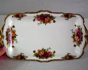 Vintage Royal Albert Old Country Roses Sandwich Tray made in England, Mint