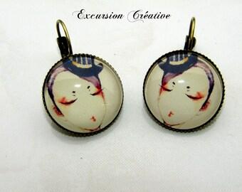 """""""Cabaret"""" cabochons 20 mm glass Stud Earrings"""