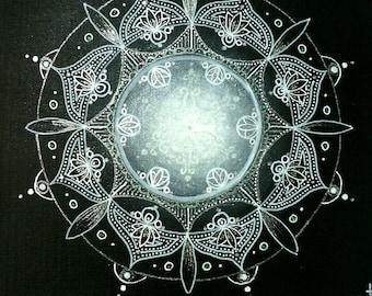"""""""Hope"""" mandala painted on canvas"""