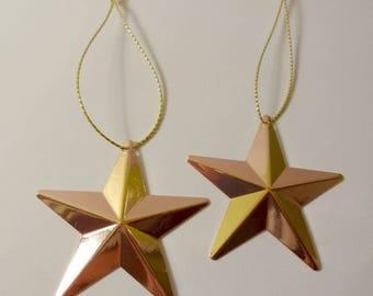 2 ornaments of Christmas - gold stars - embellishments - Christmas tree