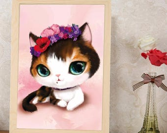3D diamond paintig Kit cat background pink 30 x 40 cm