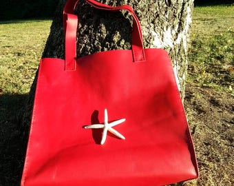 Genuine Leather Red Bag,High quality leather.Tote bag.PLUS BELT!