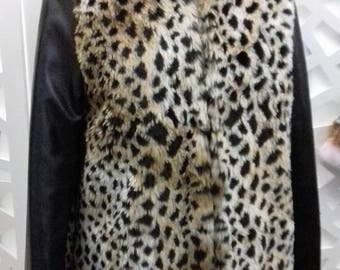 Coat faux fur with sleeves leatherette 38/40