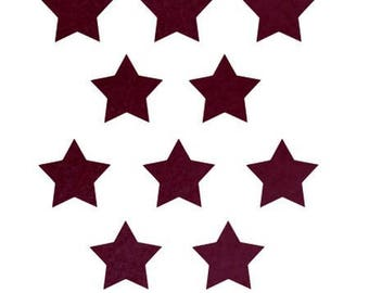 10 stars hot-melt 15x15mm Burgundy Velvet