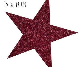 Star pattern fusible thin 15 x 14 cm Burgundy glitter