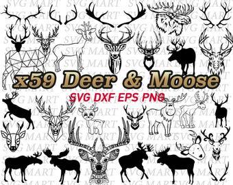deer svg, moose svg, deer antler, deer horn, deer head, cartoon deer, polygonal deer, clipart, png, eps, dxf, vector, line art, silhouette