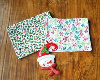 Holiday Burp Cloths- Christmas Burp Cloths- Baby's First Christmas- Burp Cloth Set- Burp Rags- Christmas Burp Rags