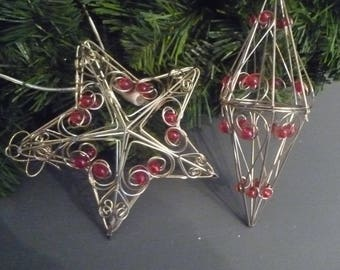 Lot 2 Décos Christmas star red /perles Golden wire
