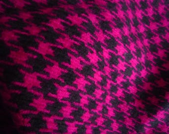 Wool Rooster fabric pink fuchsia/black - 25 * 50 cm (2 pieces) and 50 * 50 cm