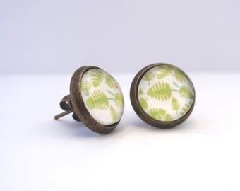 Green fern leaves Stud cabochon earrings
