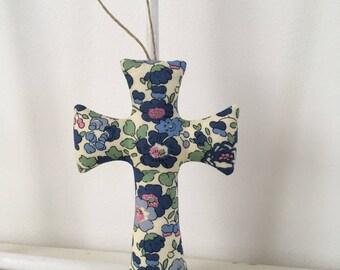 croix liberty betsy bleu et vert, cadeau bapteme