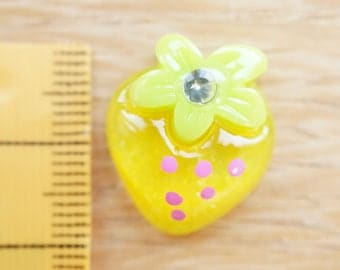 Yellow rhinestone Strawberry cabochon