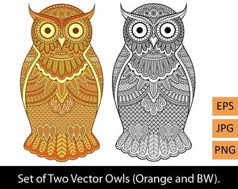 Two vector decorated with doodles and ornaments owls, orange & black-and-white. Digital editable drawing. EPS, PNG, JPG.