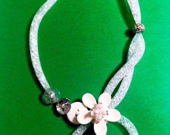 Necklace tube white FishNet tubular