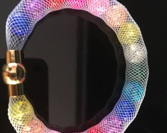 White mesh and MULTICOLORED beads