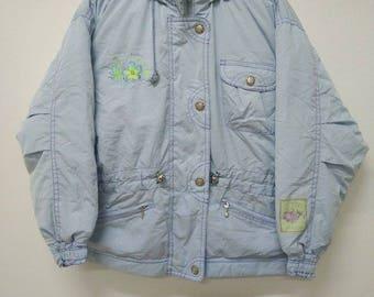 Ellesse Vintage Winter Jacket!! Carribean Hot Supple Ocean Blue Jaspo L Size Made By Goldwin