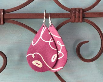 Textile leather Teardrop earrings