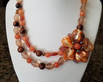 Handcrafted Side Floral Necklace with Mother of Pearl, Quartz, and Various Crystals