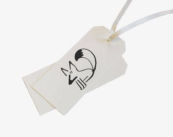 Fox Letterpress Gift Tags - Set of 5 - Bespoke Design for Birthdays, Special Occasions, Scrapbooking