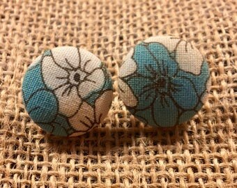 Teal it Up Flowers - Fabric Button Earrings